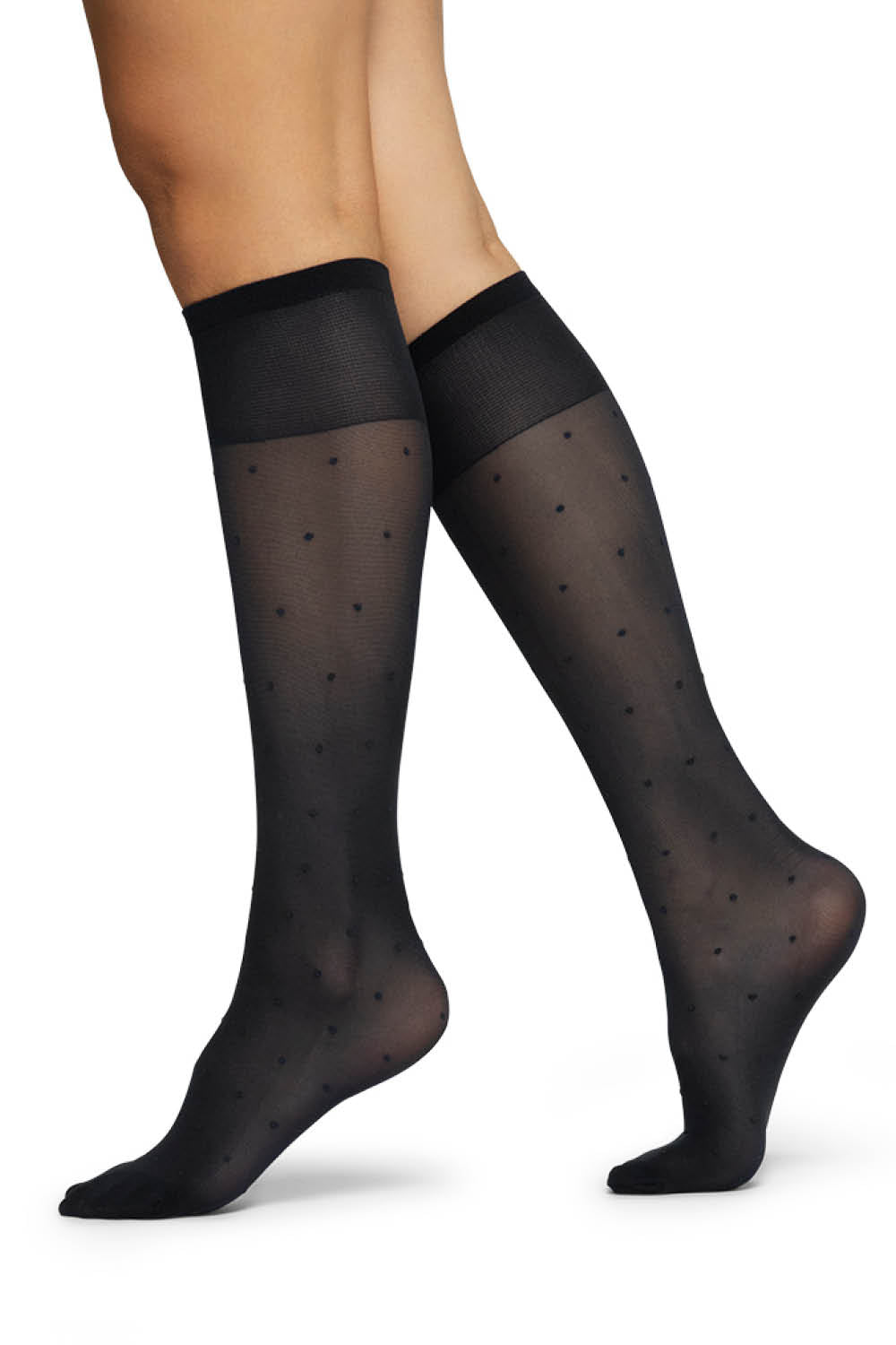 Doris Dots Knee High Socks in Black