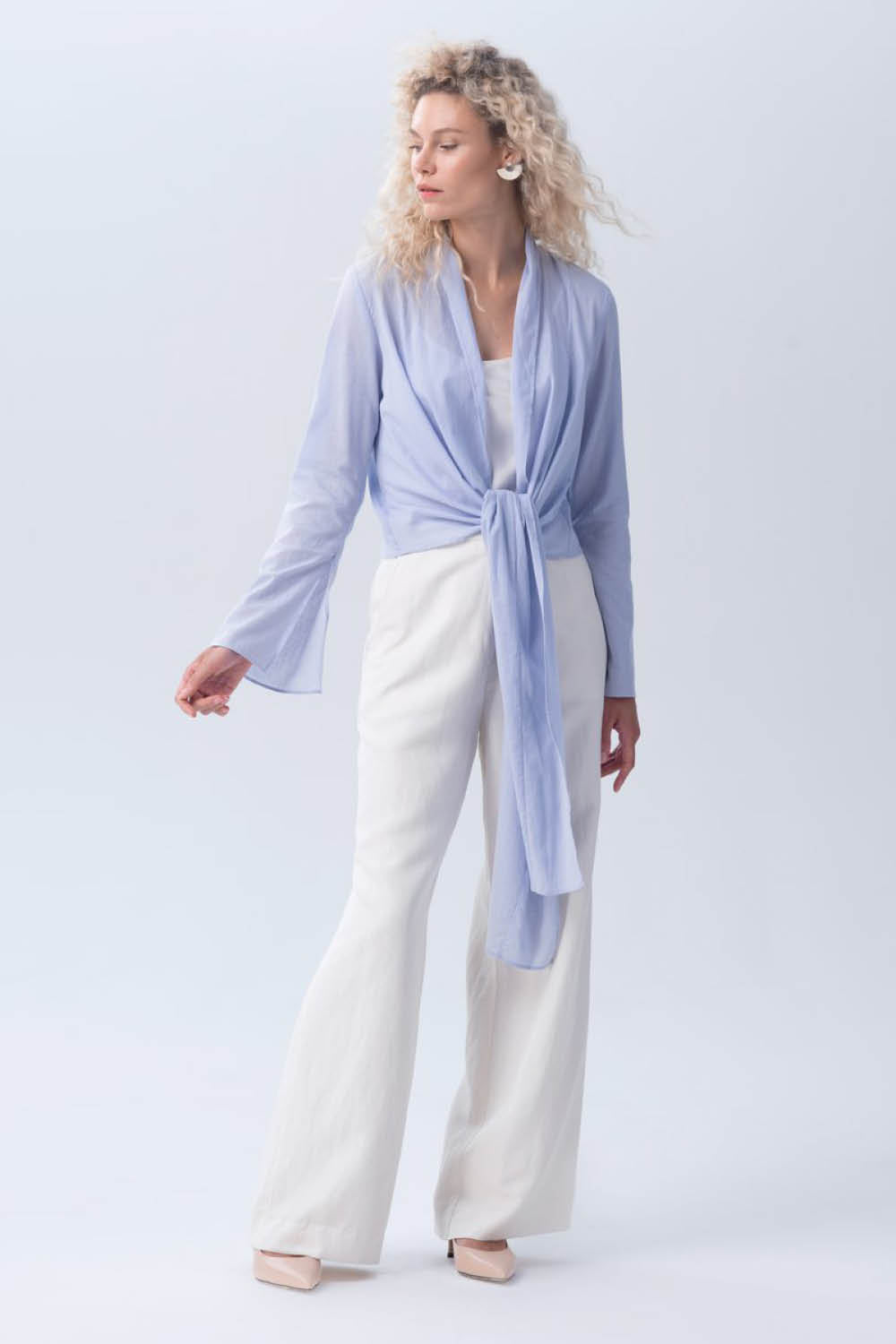 Featherlight Wrap Blouse in Sky