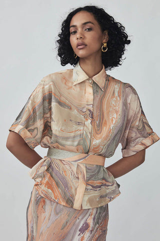 Yafiz Shirt in Melon Marble