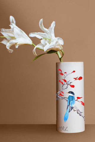 Blue Bird Beige Vase