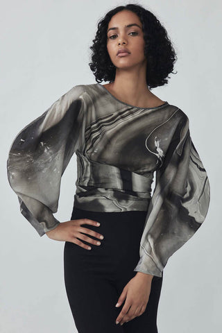 Roohi Silk Wrap Top in Cloud Grey Marble