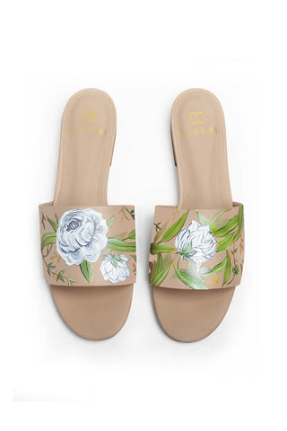 White Flowers Beige Slide
