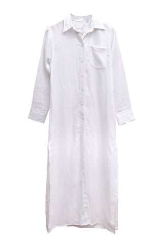 La Coronel Dress in White Linen