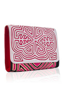 Vintage Clutch in White & Crimson Red thumbnail