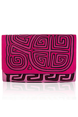 Vintage Clutch in Dark Pink & Black