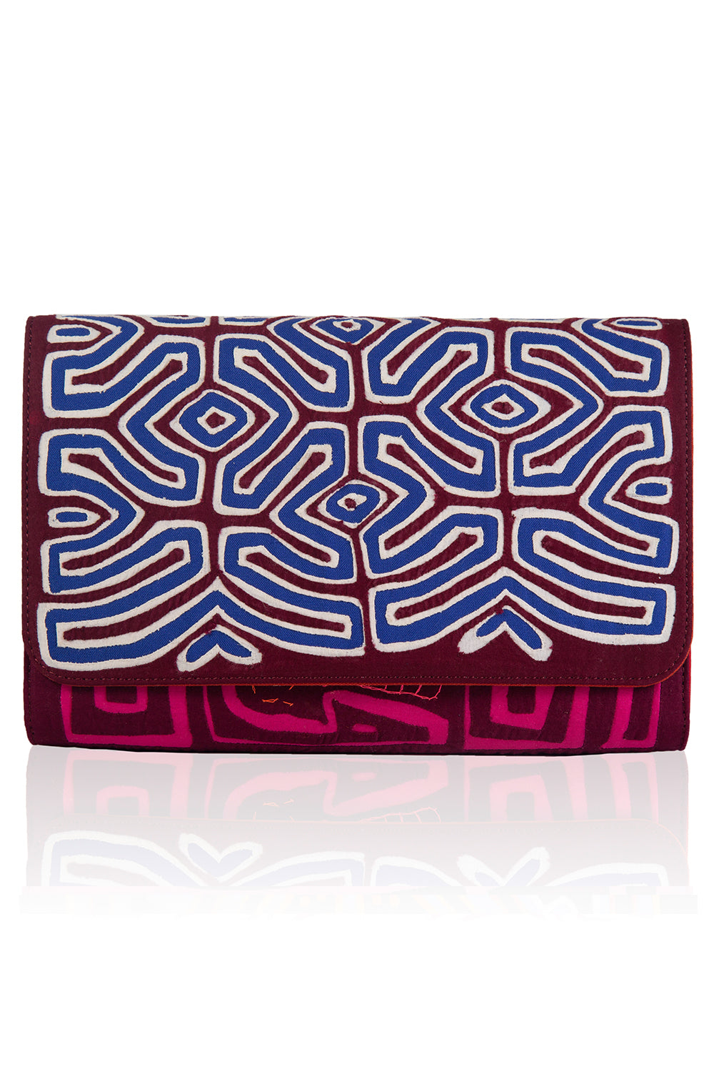 Vintage Clutch in Burgundy & Blue