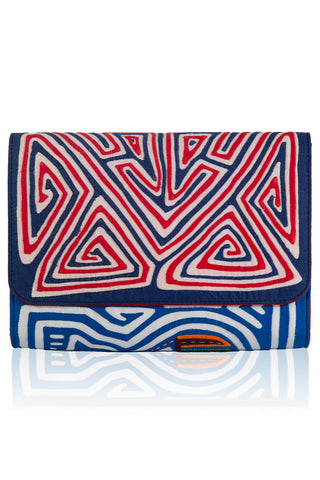 Vintage Clutch in Dark Blue & Red