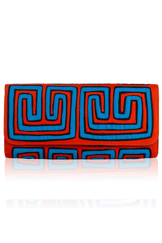 Vintage Clutch in Orange & Light Blue