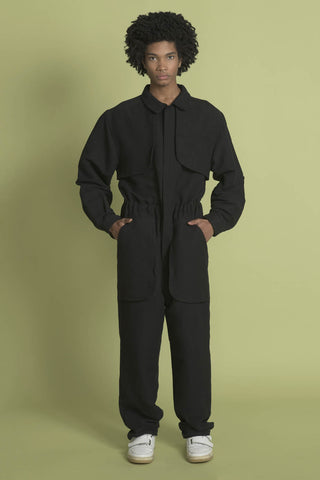 THE COMPOSER JUMPSUIT IN BLACK SOLID