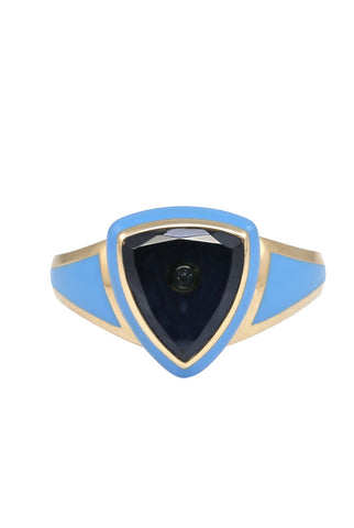 Sky Blue Enamel with Blue Tourmaline and Diamond Shield Ring