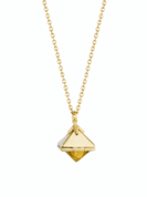 Yellow 14k Gold Shield Necklace in Blue Ceramic and Diamonds thumbnail