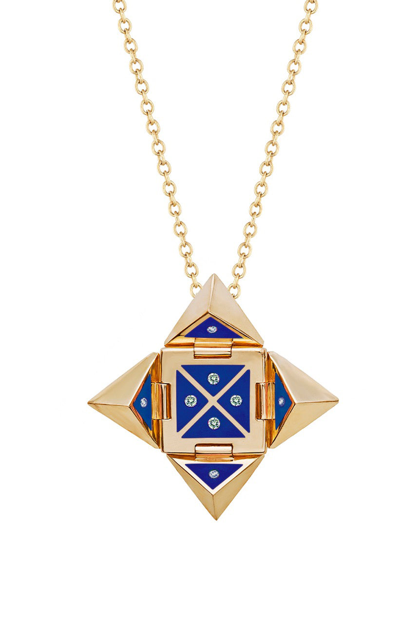 Yellow 14k Gold Shield Necklace in Blue Ceramic and Diamonds
