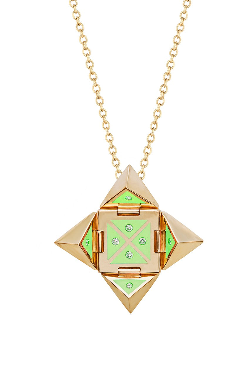 Yellow 14k Gold Shield Necklace in Lime Green Ceramic and Diamonds