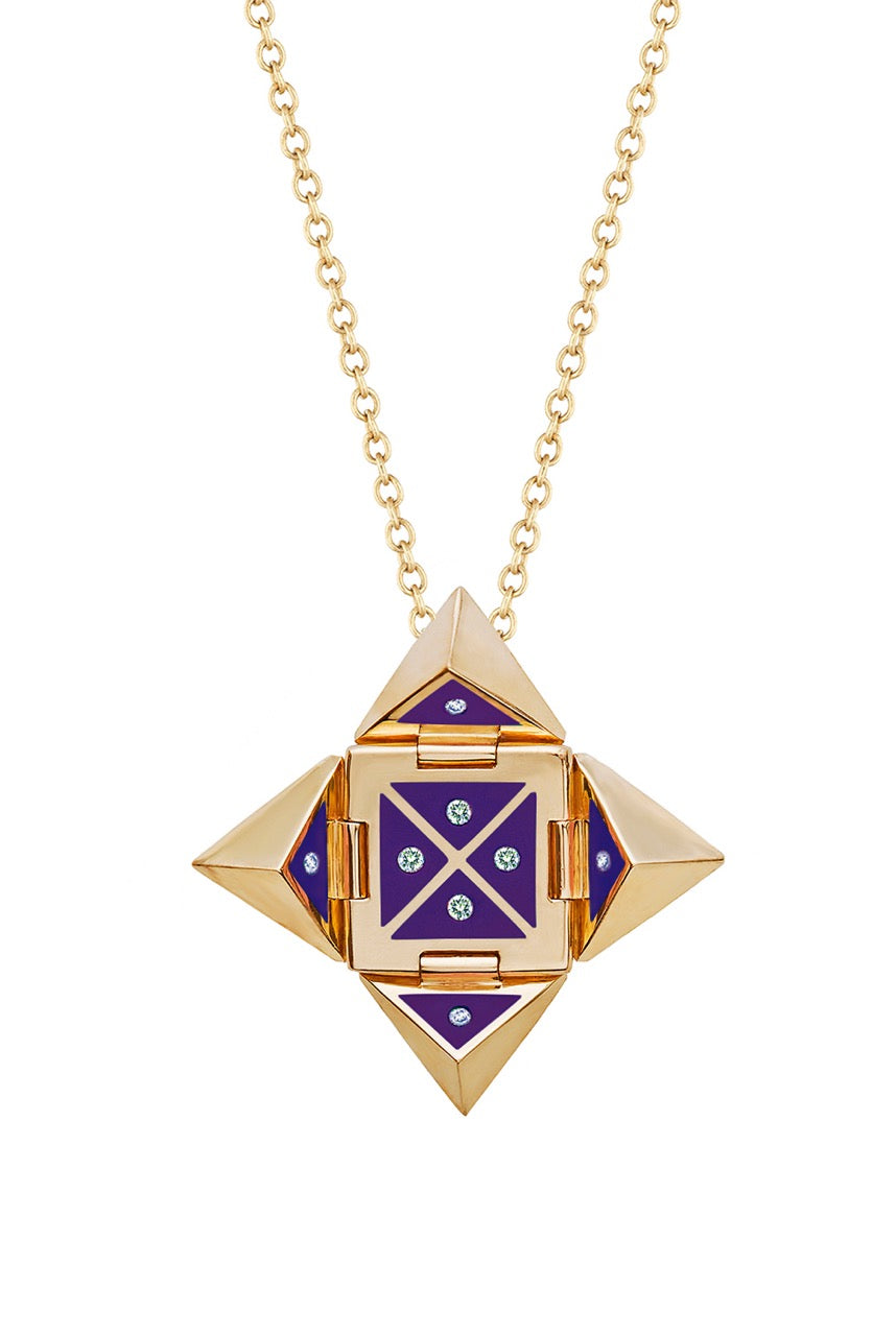 Yellow 18k Gold Shield Pendant Necklace in Purple Ceramic set with Diamonds