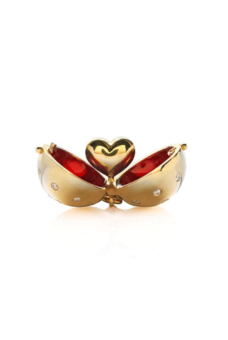 Heart Diamond Sphere with Cherry Red Enamel