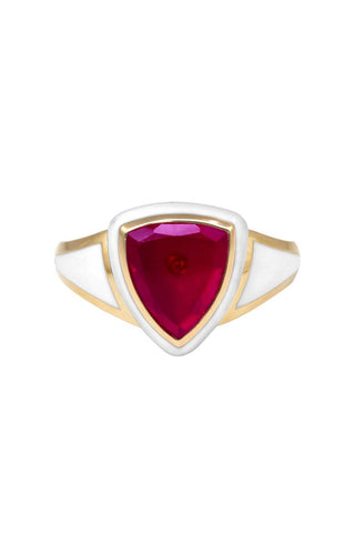 White Enamel with Ruby and Diamond Shield Ring