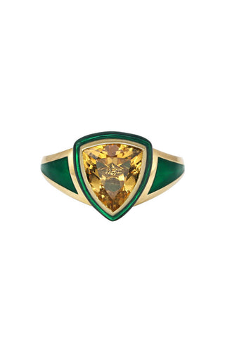 Green Enamel with Citrine and Diamond Shield Ring