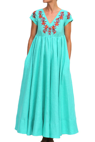 Machan High Waist Full Circle Maxi Dress in Blue Turquoise