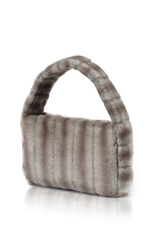 Poppy Faux Fur Handbag - Grey