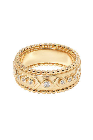 Arrow Rawa Yellow Gold Ring with White Diamond