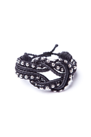 Open Knot Beaded Bracelet in Black with Silver Beads thumbnail