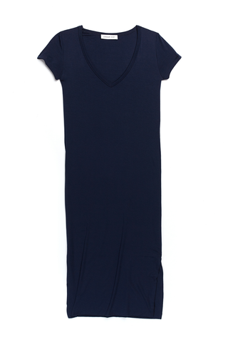 Miley V-Neck Dress with Side Slits in Navy