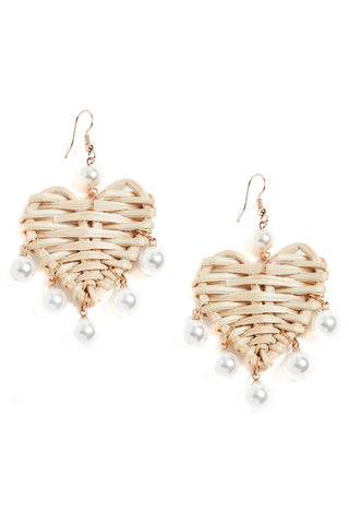 Mykonos Heart Earrings with Pearls