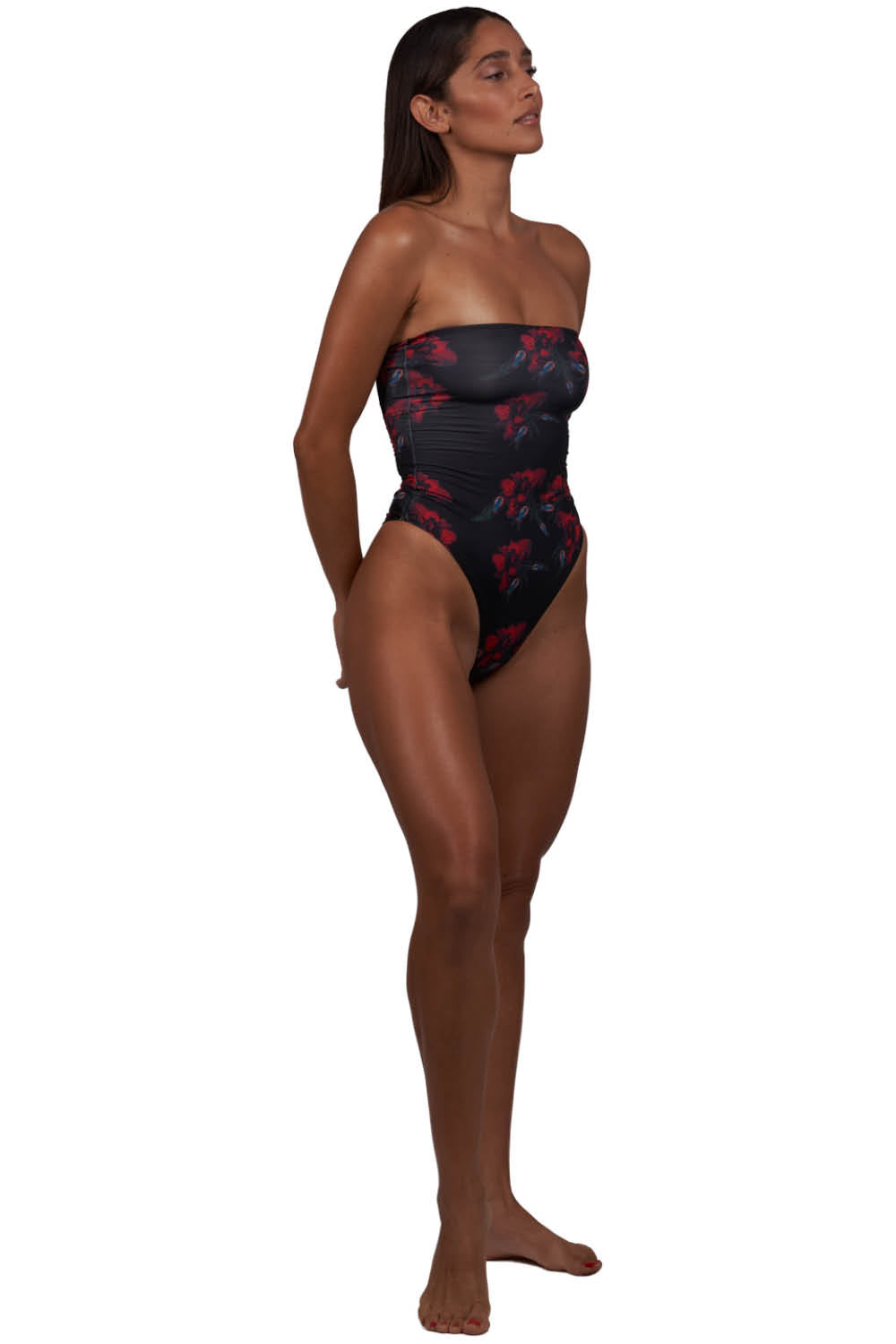 Nylah One Piece Swimsuit in Black, Red and Blue Bugs