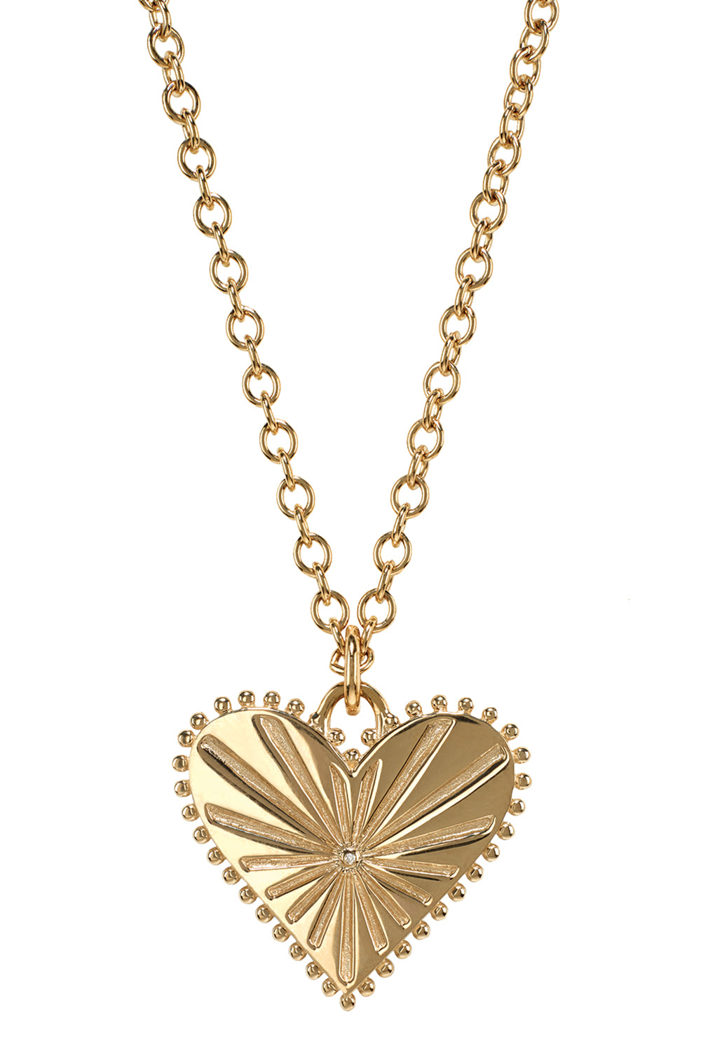 Pour Toujours Heart Coin Yellow Gold Necklace with White Diamond