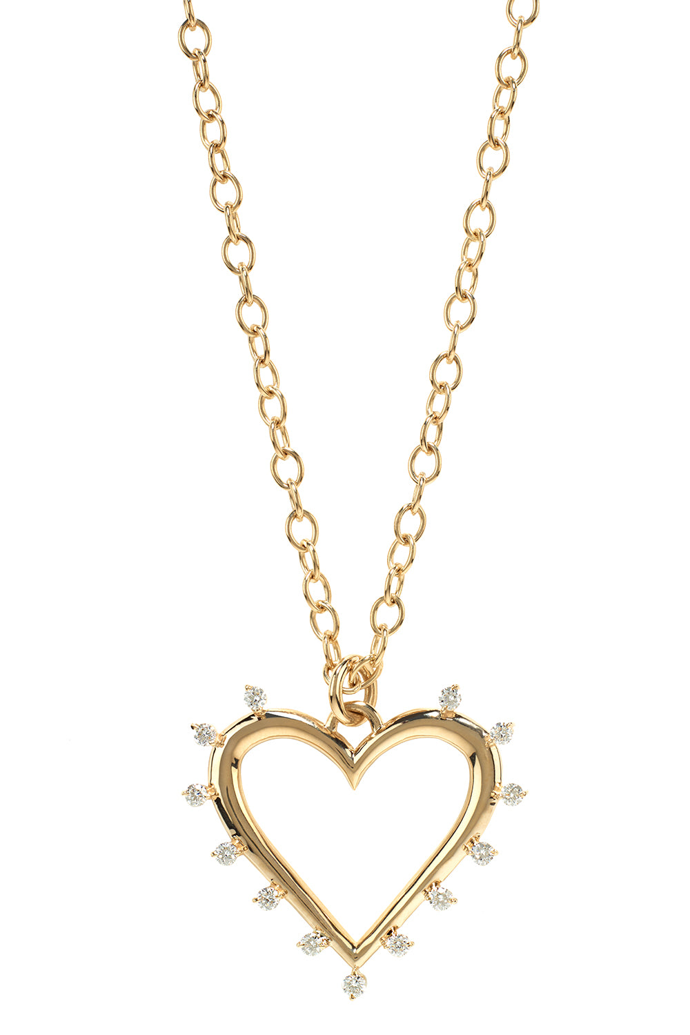 Open Heart Yellow Gold Necklace with White Diamonds