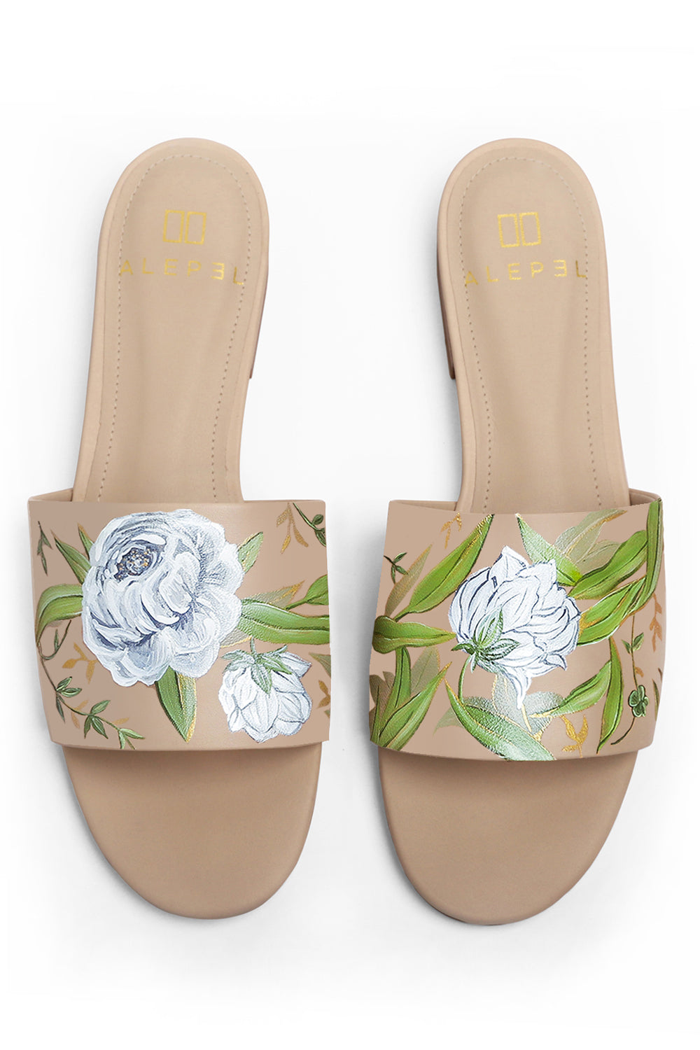 White Floral Hand Painted Slide in Nude