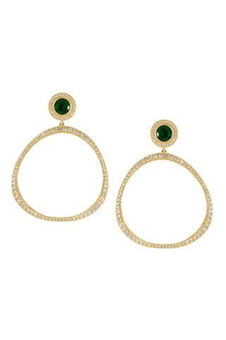 Diamond Pavé Origin Hoops with Emerald and Diamond Studs