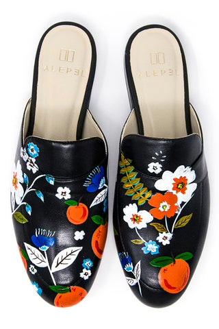 Black Mule with Handpainted Oranges