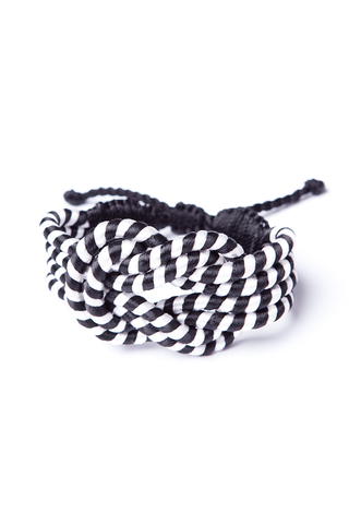 Open Knot Bracelet in Black & White