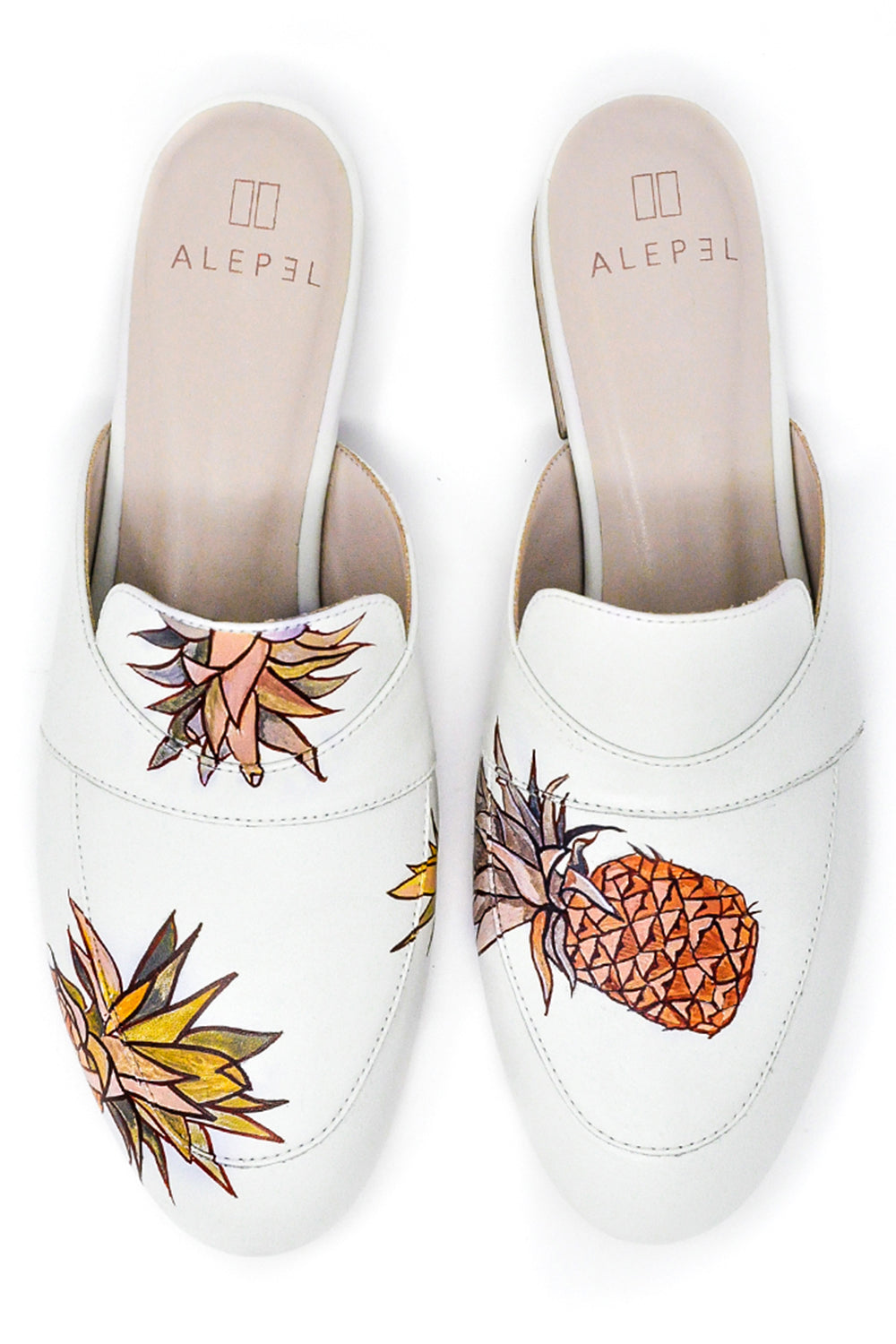 White Mule with Handpainted Pinapples