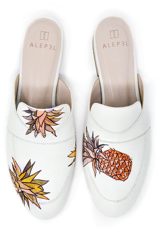 White Mule with Hand-painted Pineapples