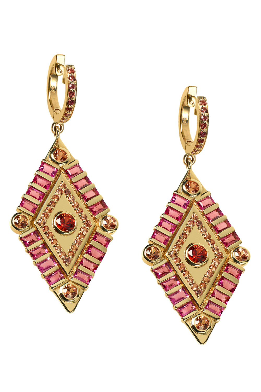 Shaman's Eye Earrings in 14K Yellow Gold, Pink Tourmaline & Pink Sapphires