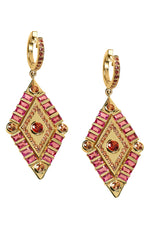 Shaman's Eye Earrings in 14K Yellow Gold, Pink Tourmaline & Pink Sapphires thumbnail