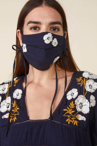 Face Mask in Navy with Poppy Hand Embroidery