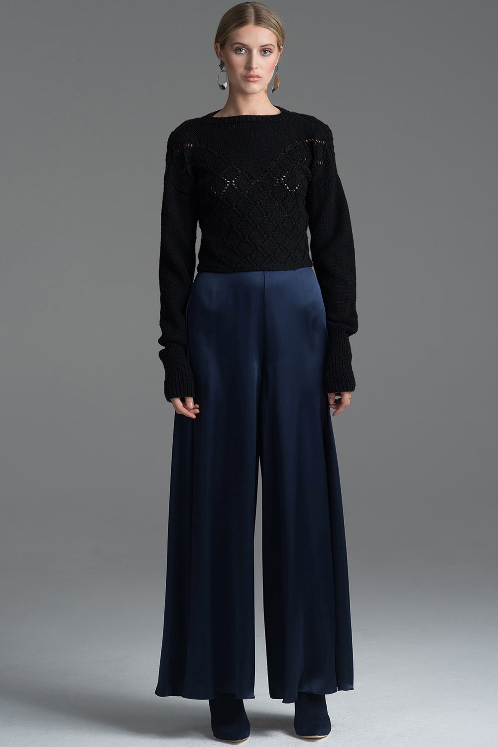 Palazzo Pant in Navy Charmeuse