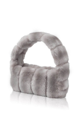 Pampas Faux Fur Handbag - Grey