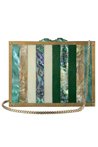 Panel Clutch in Array of Seashells & Green & Ivory Shagreen