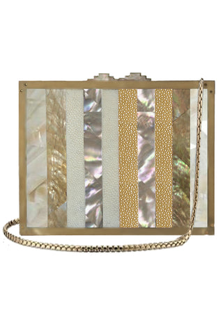 Panel Clutch in Array of Seashells & Gold & Ivory Shagreen