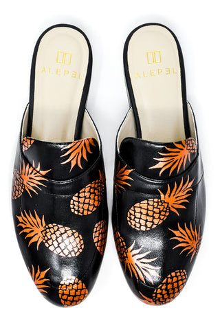 Black Mule with Handpainted Pinapples