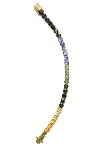31 Sapphires Ping Pong Bracelet in Yellow, Green & Blue