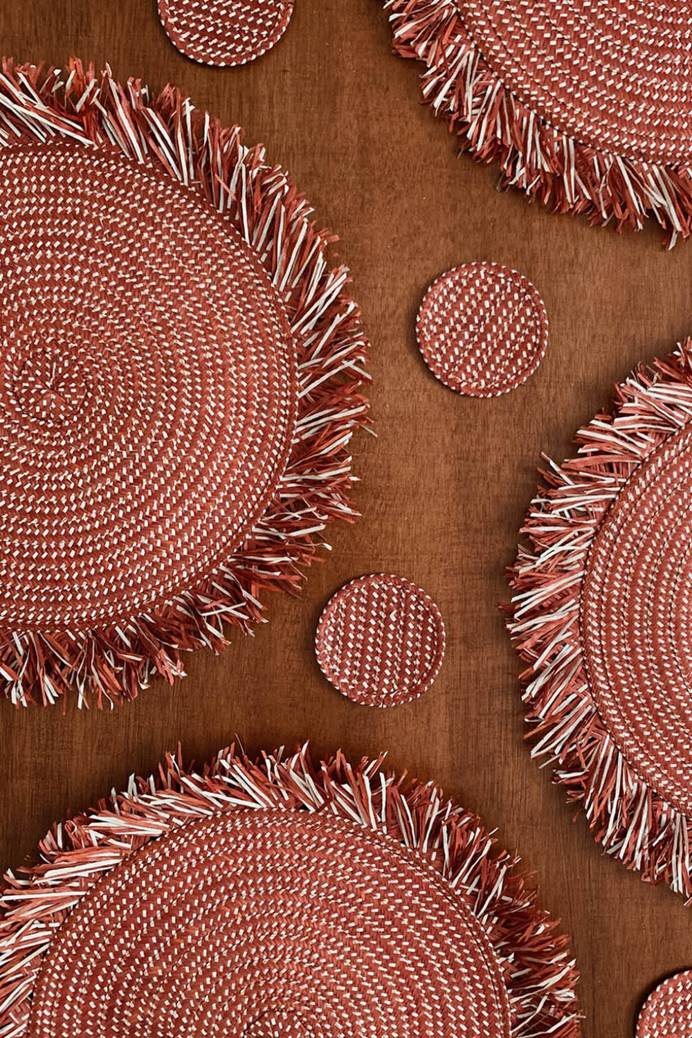 Zenu Place Mat and Coaster Set of 4 in Red/Natural