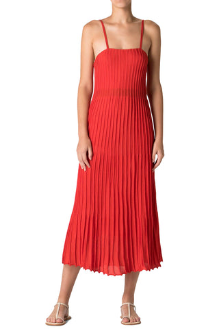 Pleated Knit Dress in Red
