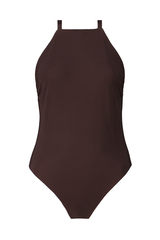Textured Brown & Red Reversible Classic One-Piece