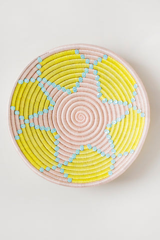Sequin Plateau in Citron & Light Pink