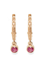 Pink Tourmaline Hoop Earrings in Pink thumbnail